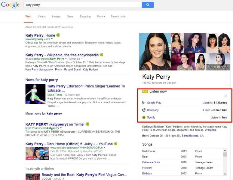 Music ads in Google Knowledge Panels