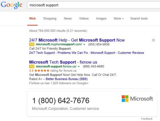 Microsoft Support google result