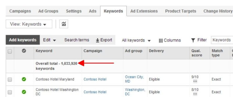 Bing Ads bulk editing 1 million keywords