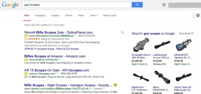 Google AdWords weapons policy changes
