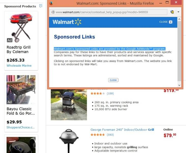 Google PLAs on third-party sites - Walmart