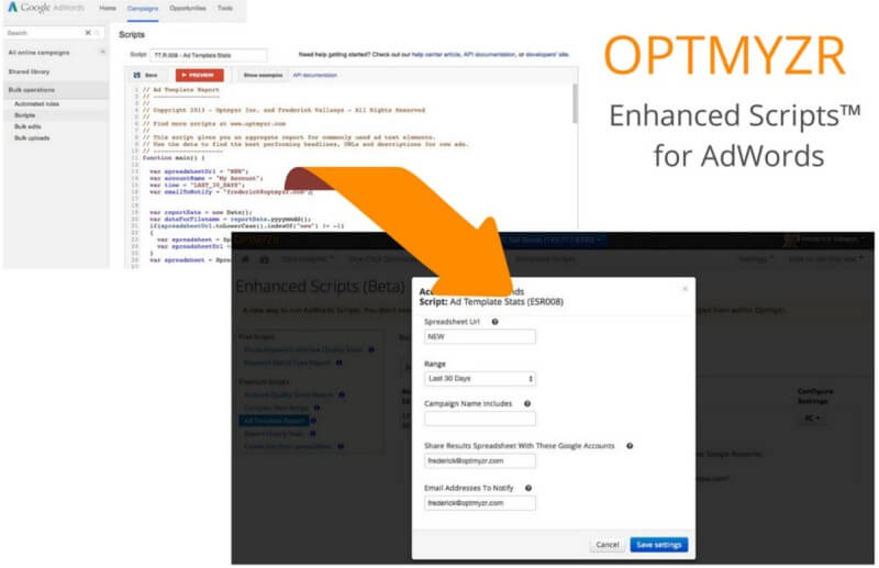 Optmyzr Enhanced Scripts for AdWords