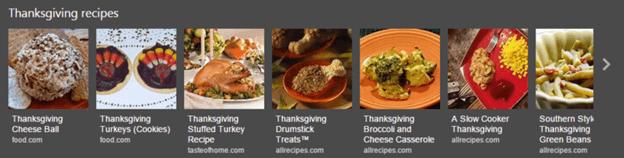 Bing thanksgiving day recipe carousel