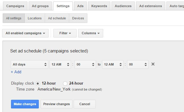 adwords bulk edit campaign settings