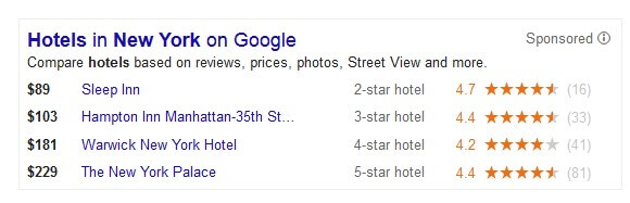 Google Hotel Finder Ad Block