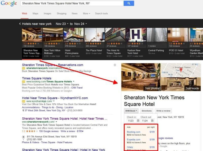 Google local hotel booking ads
