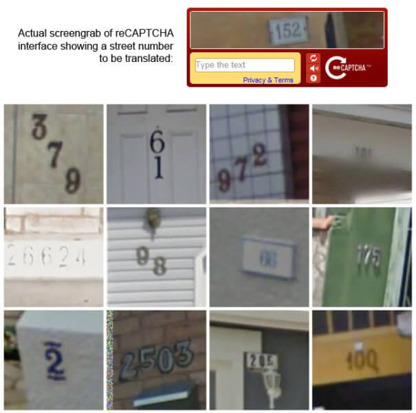 Google reCAPTCHA showing address