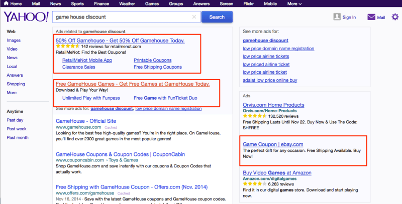 Yahoo ad test not showing display url, source Brandverity