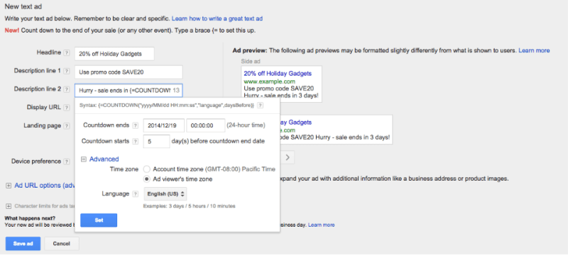 ad customizer widget in adwords for countdowns