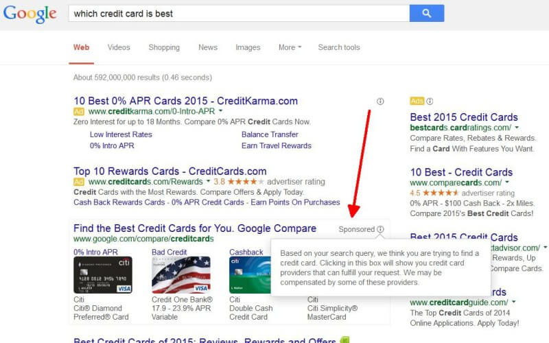 Google credit card sponsored box
