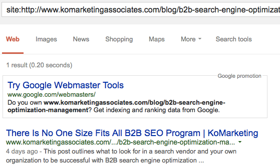 Example of Page Indexed in Google SERP