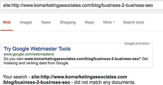 Example of Page NOT Indexed in Google SERP