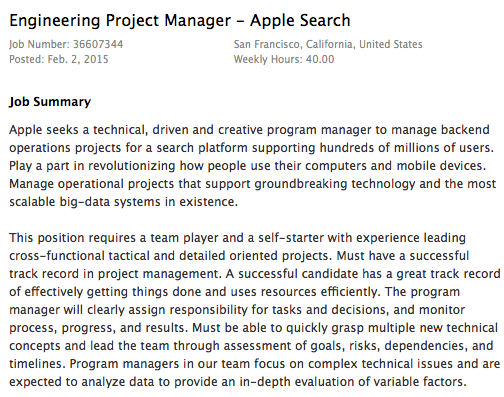 Apple search job listing