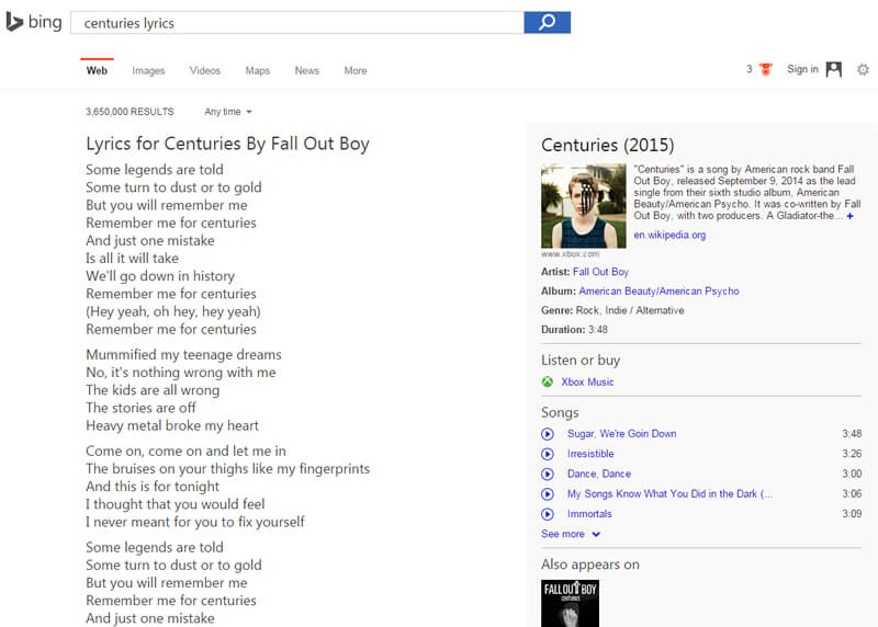 lyrics bing centuries