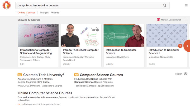 duckduckgo computer science online courses