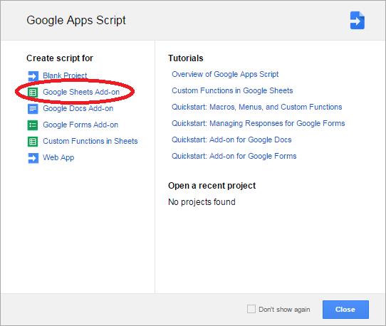 Google Apps Script screen