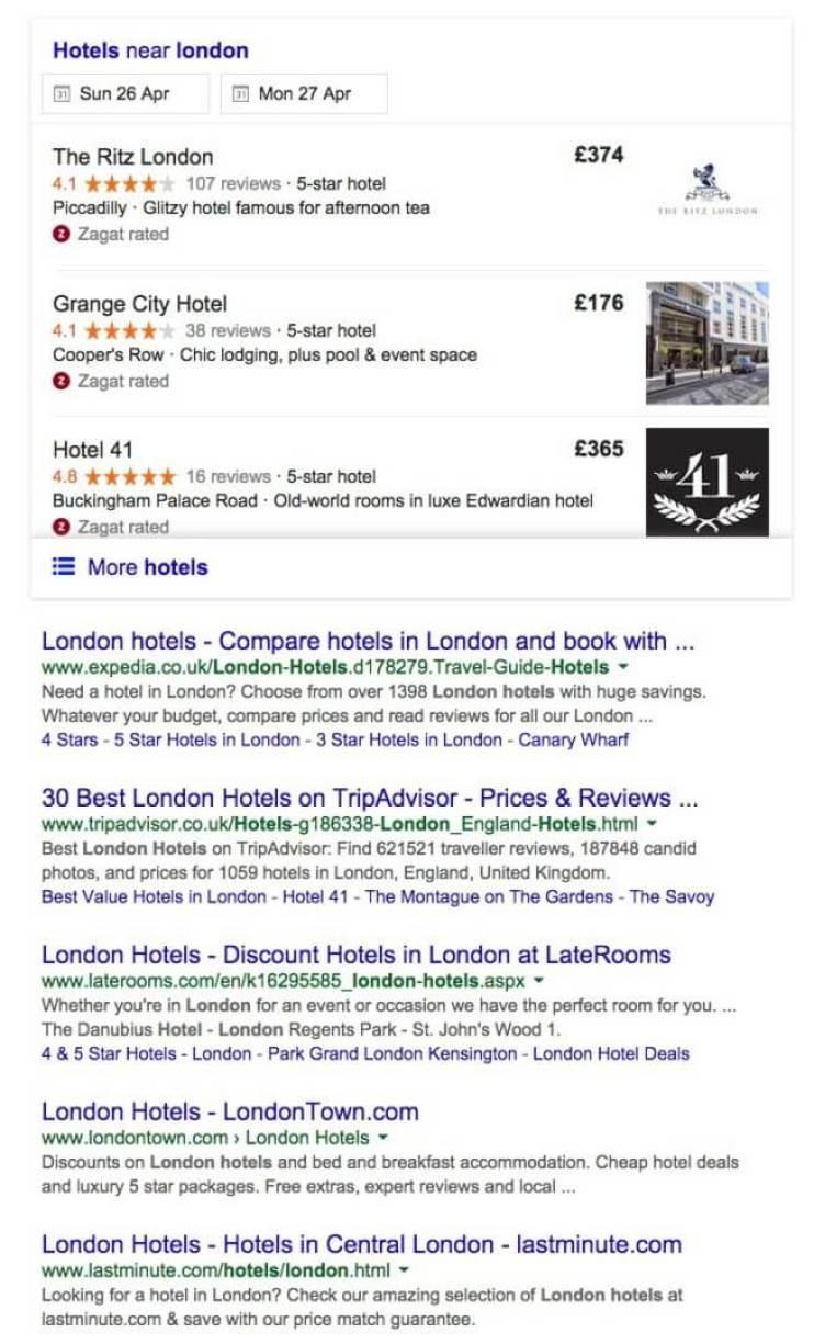 london hotels google uk