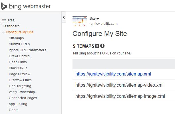 Configure site bing webmaster tools