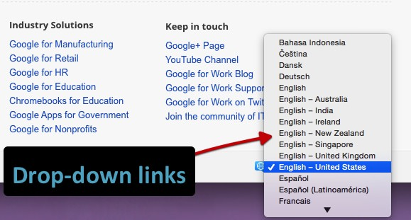 An example drop down language selector on a Google for Work page.