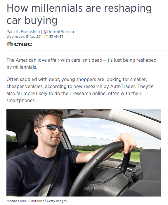 How millennials are reshaping car buying CNBC article screenshot