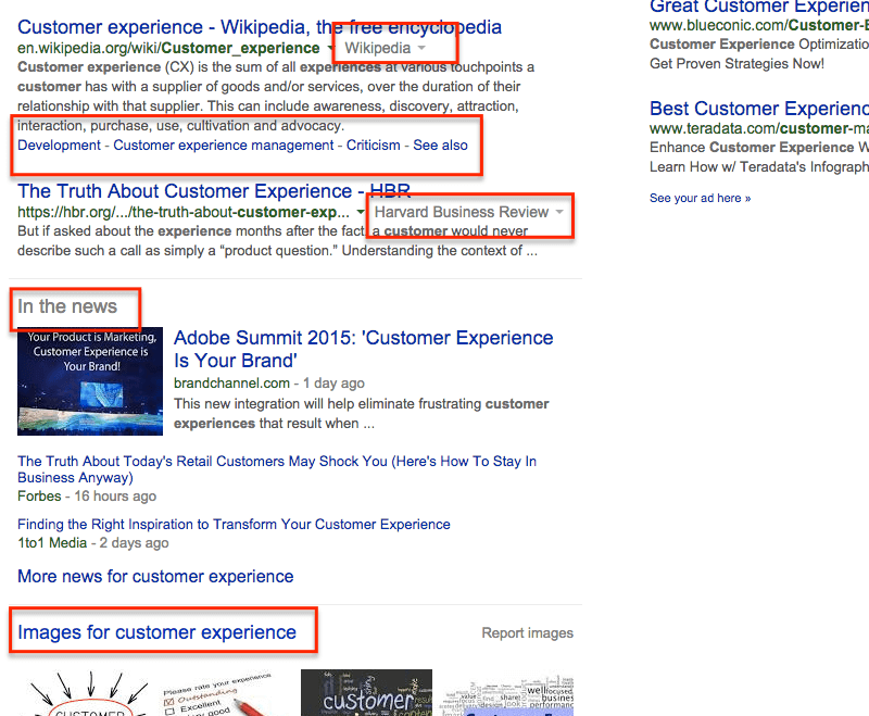 Points of Differentiation in Organic Search Results