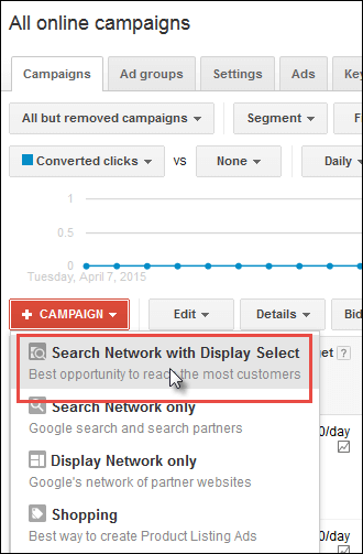 Screenshot of AdWords settings for search network with display select.