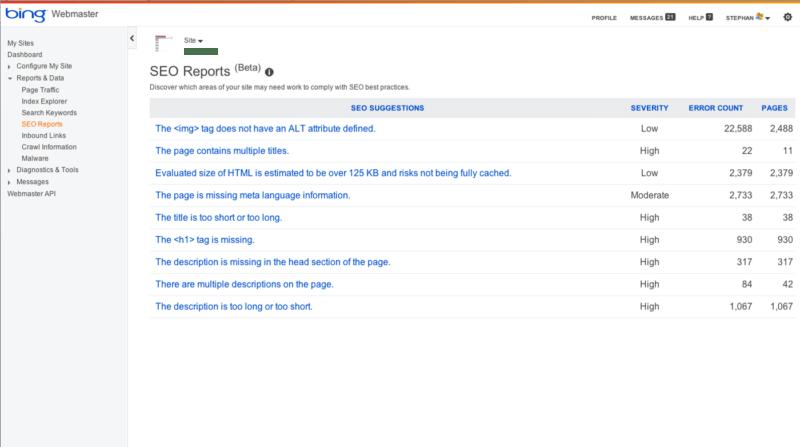 bing webmaster tools seo reports