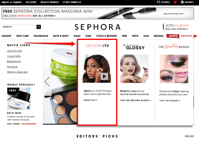 Sephora Home Drop Down