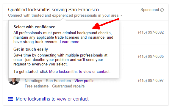 qualifications for google home services listings