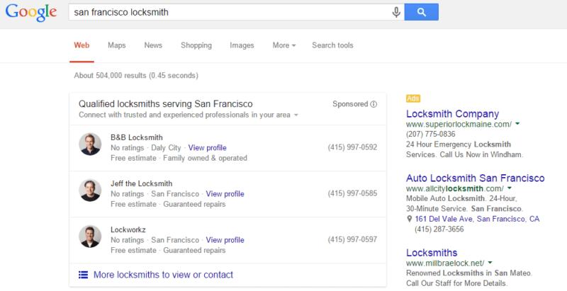 google home services ads test locksmith