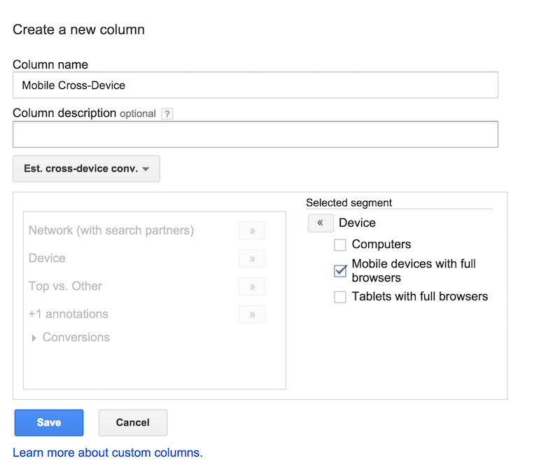 Mobile cross device conversions in custom column in AdWords