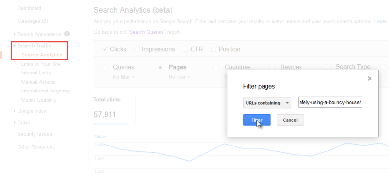 Screenshot showing how to filter for a URL in Search Console Search Analytics Report.
