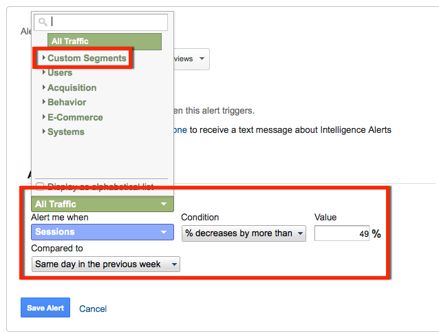 specifying a custom segment in a custom alert for seo