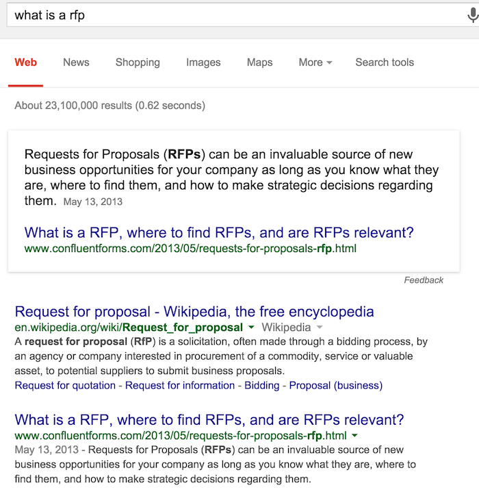 Example of a Featured Snippet Box