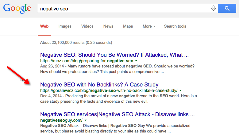 negative SEO Google search