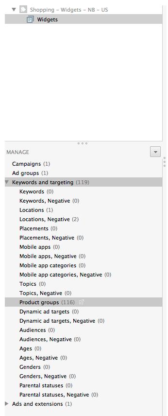 product group bulk edits