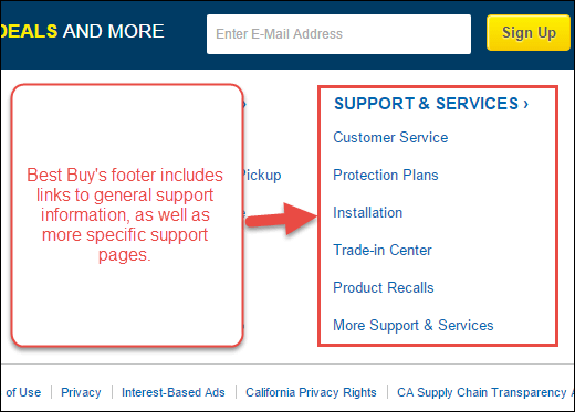 Screenshot of an example of footer links pointing to a support section and sub-pages.