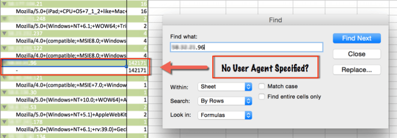 log files for seo and bad bots find top hitting IP no user agent