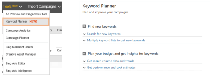 bing ads keyword planner launches