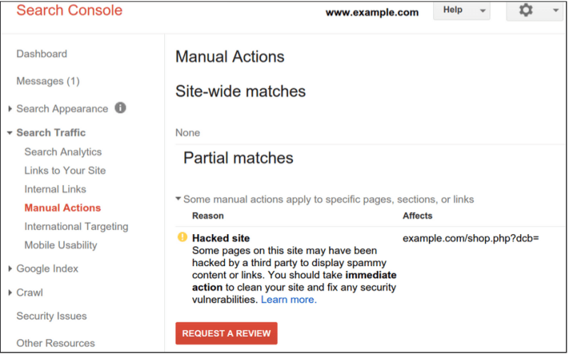 google-manual-action-hacked-site