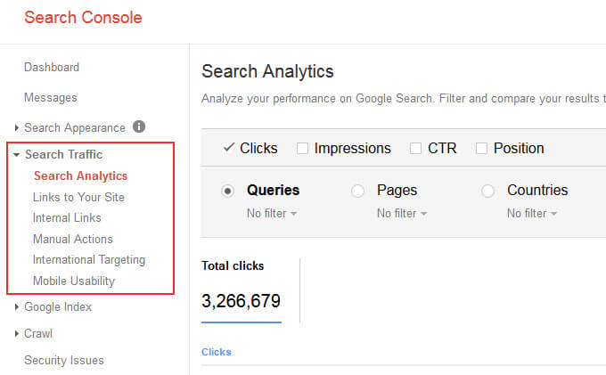 Finding Search Analytics Report in GSC
