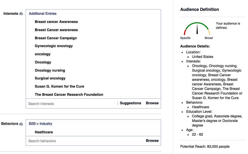 2015.10-aimClear-Targeting-Facebook-b2b-interests-behaviors-healthcare-cancer