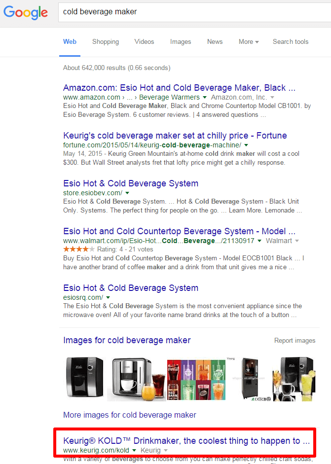 cold beverage maker SERP