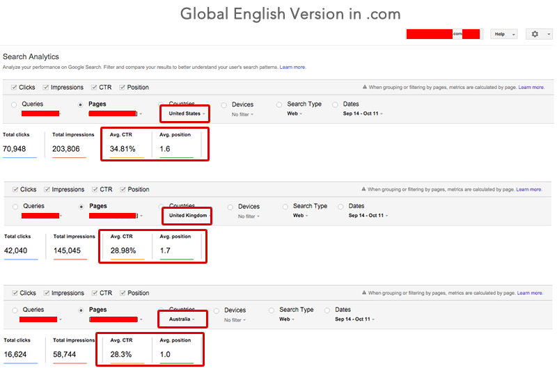 Global English Version in .com
