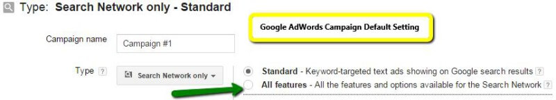 Google AdWords defaults to Standard setting.
