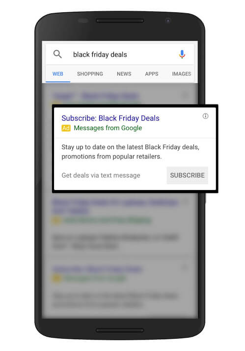 ads for google holiday deal text alerts