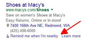 adwords remind me when i'm nearby ad automated extension google now