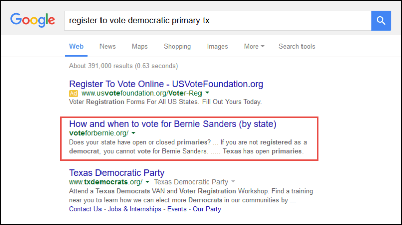 Screenshot of the search result for register to vote democratic primary ca