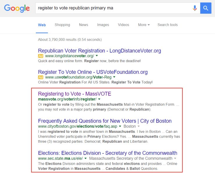 Screenshot of republican primary search result