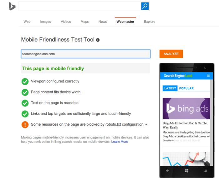 sel-bing-mobile-friendly-test